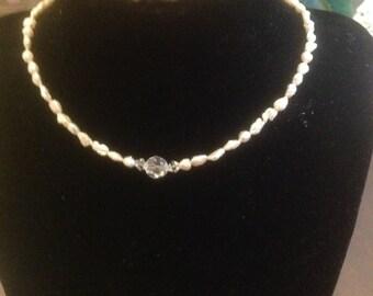 Child's Pearl & Swarovski Crystal Necklace