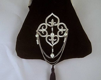 Black Velveteen Shoulder Purse w/ Pearl Applique - Renaissance - Victorian