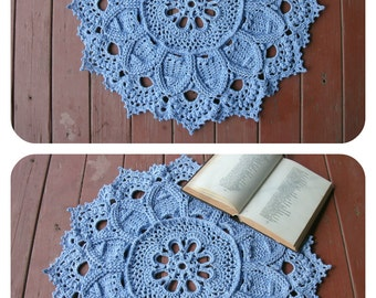 3D crochet rug Blue doily rug 23 inches Blue home decor New home gift Housewarming gift Nursery decor Flower rug Home accents Bedside rug