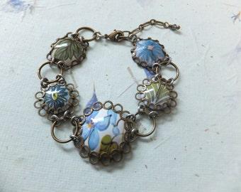 Vintage Tin Bracelet, Blue, Green, Spring, Leaves, Flowers, White, Repurposed, Upcycled, Handmade, Sustainable, English Tin, Nature