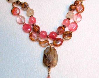 22 inch Multi-strand Tigerskin Glass Necklace with Pendant in Warm Shades of Browns and Pinks