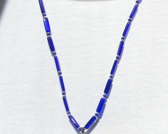Cobalt Blue Cats Eye 25 Inch Necklace
