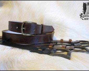 Belt man vegetal leather handmade color loop and pattern choice / Leather belt men custom