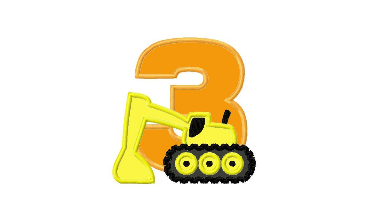 Construction Excavator Birthday Number 3 by ActionApplique2015