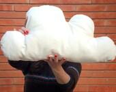 100% organic cotton cloud pillow in natural color with kapok fiber filling. Cloud plush, decorative cushion. Nursery pillow.