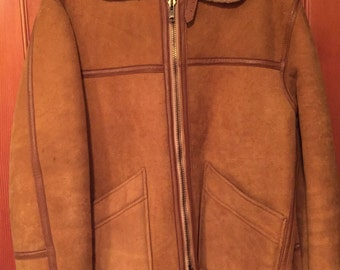 Men's Vintage Suede and Sherpa Tan Jacket by Eagle Clothes
