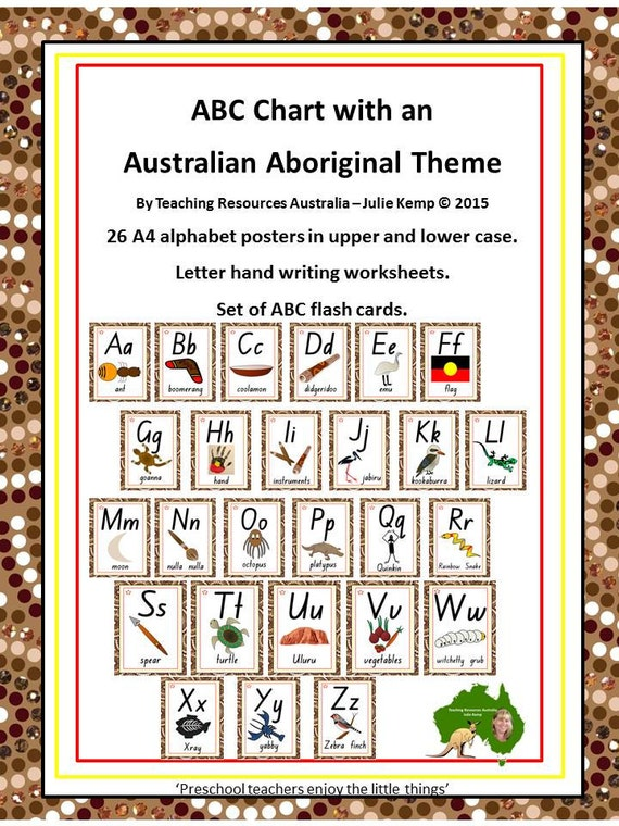 Aboriginal ABC Chart, Flash Cards, Letter Tracing