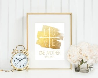 Love One Another Printable Love Printable Scripture Art Scripture Print Home Decor Inspirational Gift Love Print