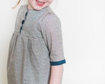 Girl's blue print cotton tunic