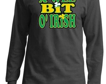 St Patrick's Day Men's Shirt A Wee Bit Irish Long Sleeve Tee T-Shirt A10000-PC61LS