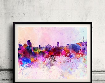 Seoul skyline in watercolor background 8x10 in. to 12x16 in. Poster Digital Wall art Illustration Print Art Decorative  - SKU 0020