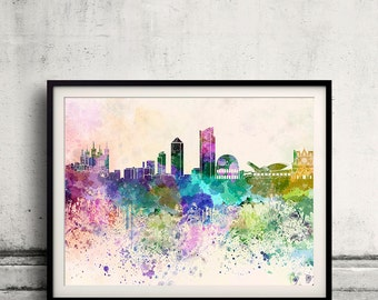 Lyon skyline in watercolor background 8x10 in to 12x16 Poster Digital Wall art Illustration Print Art Decorative  - SKU 0071