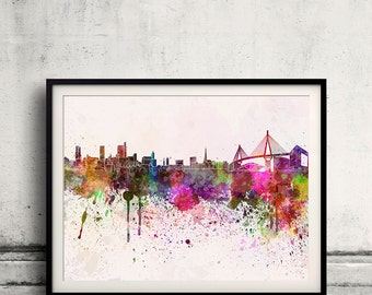 Hamburg skyline in watercolor background 8x10 in to 12x16 Poster Digital Wall art Illustration Print Art Decorative  - SKU 0093