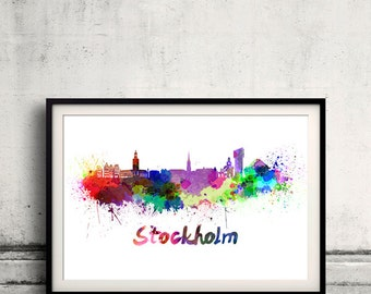 Stockholm skyline in watercolor over white background with name of city 8x10 in. to 12x16 in. Poster Wall art Illustration Print  - SKU 0340