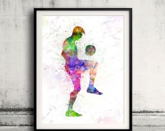 Man playing soccer football 8x10 in. to 12x16 in. Poster Digital Wall art Illustration Print Art Decorative - SKU 0514