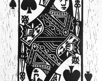 Queen of Spades Linocut Print