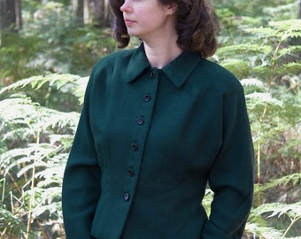WINTER SALE Womens 1940s fitted jacket with peter pan collar, handmade SALE