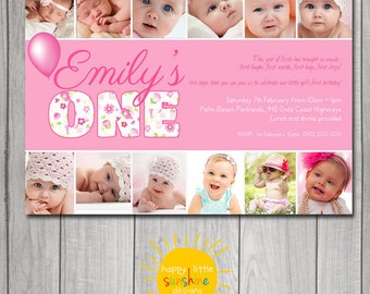 Girl Birthday Invitation Personalised Printable Any Age 1st Birthday Fun 12 month photo collage