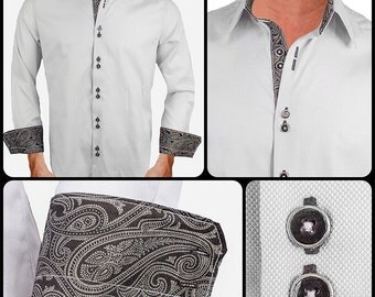 Grey with Black Paisley Men's Designer Dress Shirt - Made To Order in USA