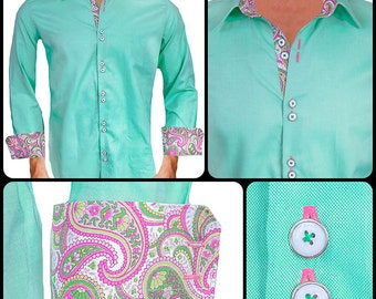 Light Green with Pink Paisley Men's Designer Dress Shirt - Made To Order in USA