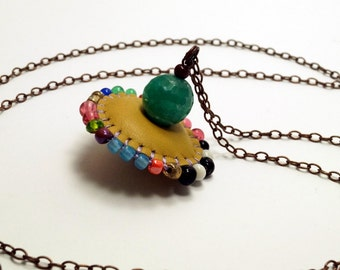 Long Emroidered Beaded Leather Spinning Top Necklace
