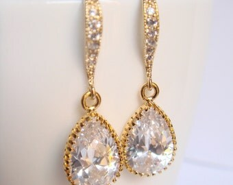 Crystal and gold bridal earrings II - Wedding earrings - Bridesmaids earrings gift - Cubic crystal drop earrings