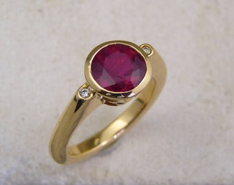 Ruby engagement, ruby ring, 18K Gold ruby Ring, Solitaire ruby ring, solid gold ruby ring, natural red ruby, red stone ring, ruby solitaire