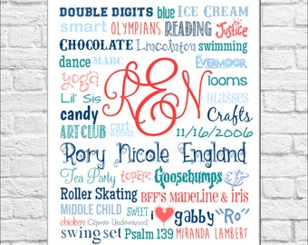 All About Me Print - for little girls!