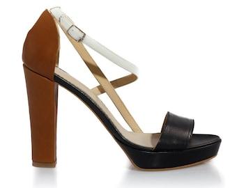 Clementine Block Heel Leather Sandals