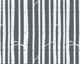 Rooted - Birch Forest Charcoal - Fabric By The Yard - Woodsy Collection