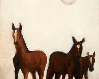 Giclee Print - Equestrian Series - Horses - Three Yearlings - White, Brown, Black