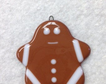 """Gingerbread People Fused Glass Ornament 3.5""""x3.5"""""""