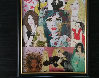 Framed Collage of Faces from Magazine Images 8in x 10in