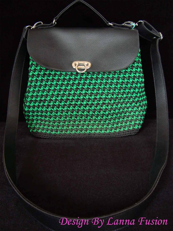 Leather Crochet Bag : Green and Black Leather Crochet Handle bags Green Handbag Green Purse ...