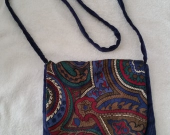 Small Ladies Flip Bag Blue Corduroy and Paisley Fully Lined and Interfaced