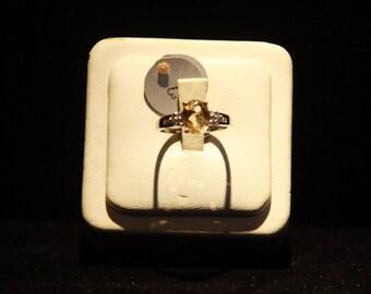 CITRINE Birthstone Ring set in 14 Karat White Gold .10 carats of Diamonds