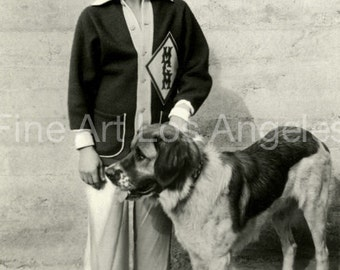 Photo of Buster Keaton and dog, 1925