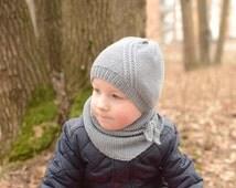 Cotton Merino Kids Spring Hat, Knit Kids Beanie, Gray Kids Hat, Toddler Handmade Hat, Toddler Beanie, Baby Beanie, Baby Boy Hat, Skull Cap