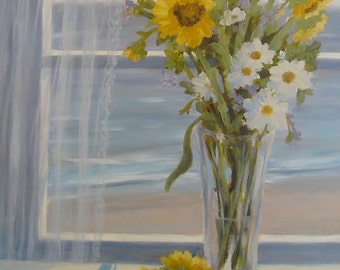 Beach greeting card, sunflowers, still life, beach art, shabby chic, coastal, nautical from original oil painting by Tina O'Brien