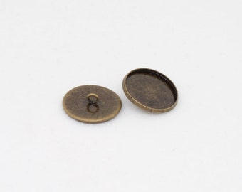 6x Antique Bronze Button Setting Blanks Fits 18mm Cabochon