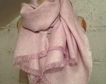 Heather Pink 'Hattie' Chambray Linen Scarf