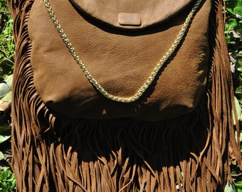 Fringed leather bag-fringes leather bag