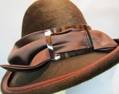 Fabulously MOD Vintage 1950's 1960's Italian MOHAIR Fedora Style Hat with Buckle Motif