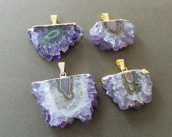 Amethyst Agate Stalactite Druzy Slice 22k Gold Silver  Dipped Pendant