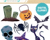 HALLOWEEN Digital Clipart Collage Instant Download Ephemera Scrapbook Stock Image Cartoon Pumpkin Skull Cat Bat Tombstone Witch Hat Spider