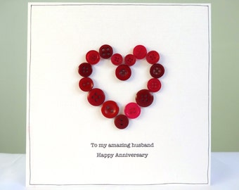 Personalised anniversary card - wedding anniversary cards - button heart - ruby wedding - husband anniversary wife - love card wedding - uk