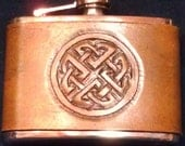 4 Oz Stainless Steel Whiskey Flask With Leather Cover: Celtic Circle Knot