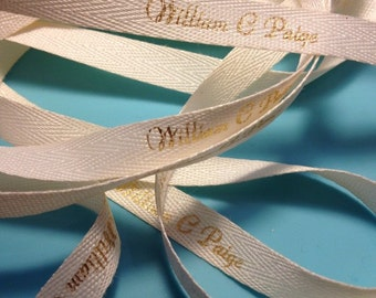 Custom Ribbon 2 yds Personalized on twill tape natural ribbon