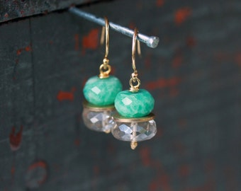 Gemstone Stack Earrings, Green Amazonite Gray Quartz, Gemstone Earrings, Mystic Quartz, 14k Gold Filled, Unique Style, Sparkly Gem