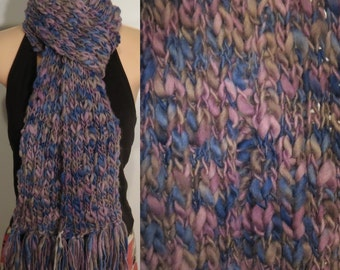 Hand Made Knit Wool Scarf grey purple blue chunky